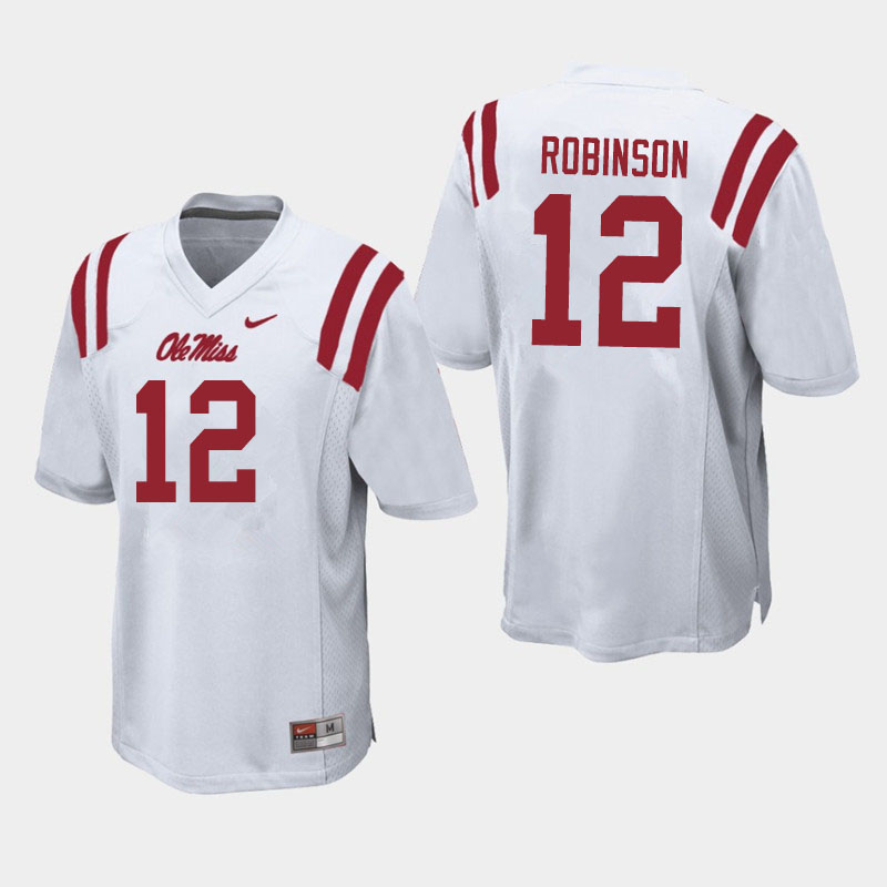 Men #12 Austrian Robinson Ole Miss Rebels College Football Jerseys Sale-White