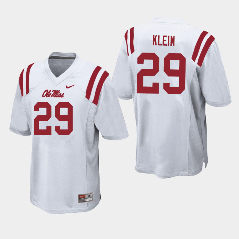 Men #29 Campbell Klein Ole Miss Rebels College Football Jerseys Sale-White