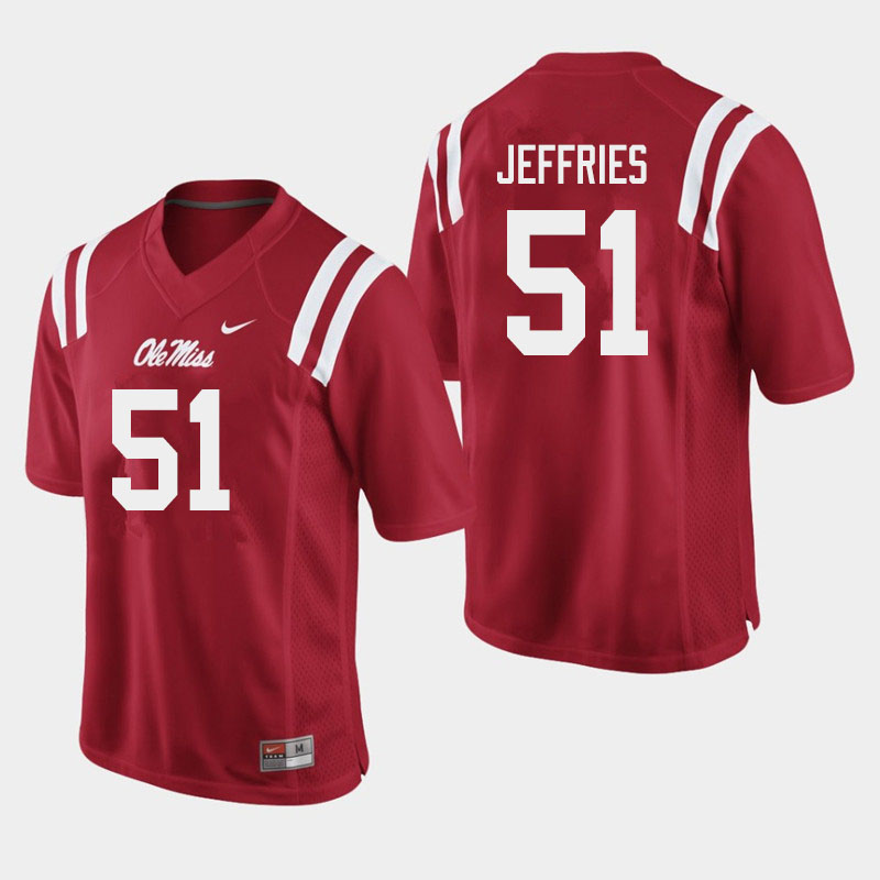 Men #51 Eric Jeffries Ole Miss Rebels College Football Jerseys Sale-Red