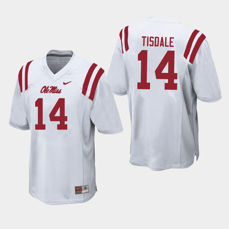 Men #14 Grant Tisdale Ole Miss Rebels College Football Jerseys Sale-White