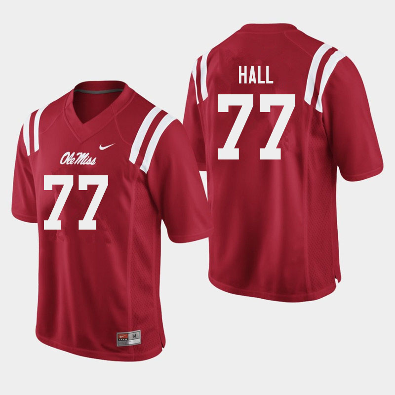 Men #77 Hamilton Hall Ole Miss Rebels College Football Jerseys Sale-Red