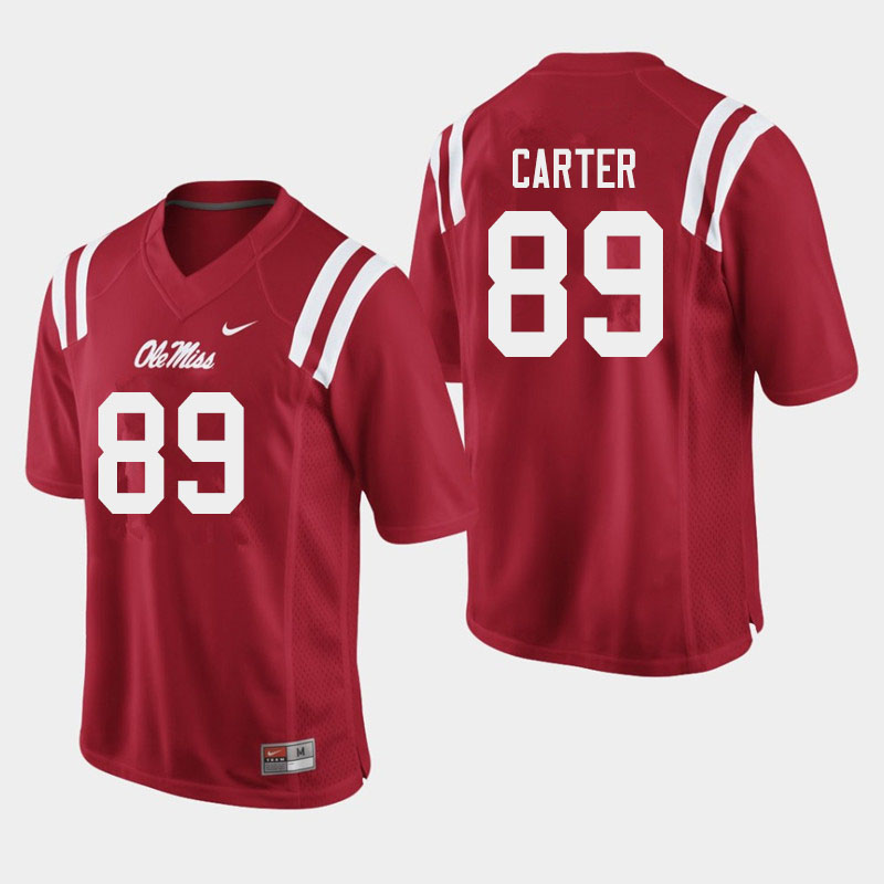 Men #89 Jacob Carter Ole Miss Rebels College Football Jerseys Sale-Red