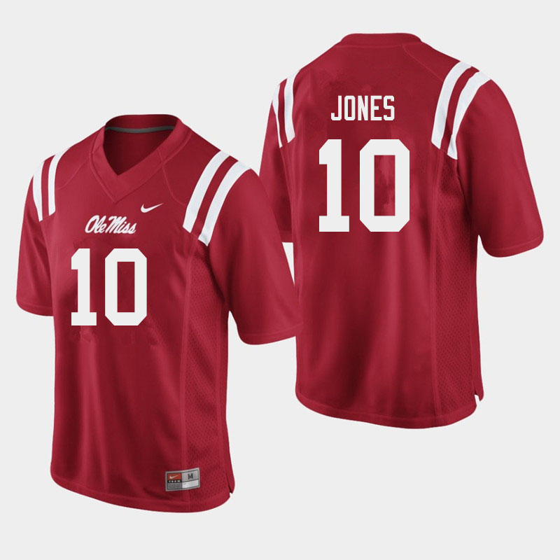 Men #10 Jacquez Jones Ole Miss Rebels College Football Jerseys Sale-Red