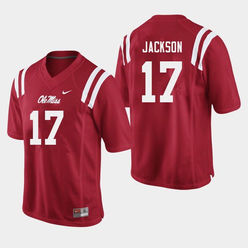 Men #17 Jadon Jackson Ole Miss Rebels College Football Jerseys Sale-Red