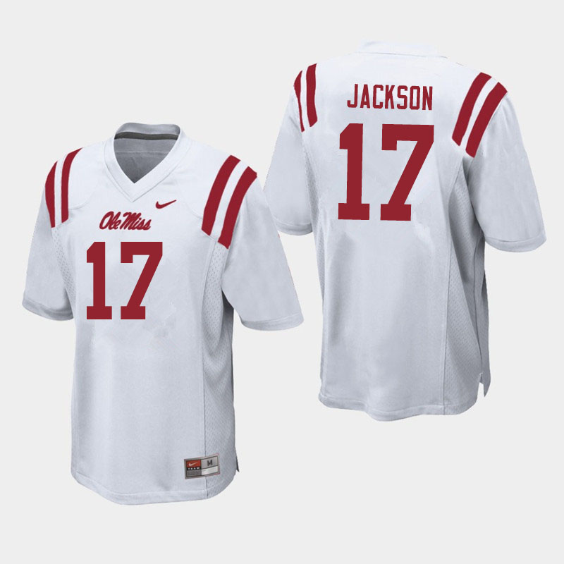 Men #17 Jadon Jackson Ole Miss Rebels College Football Jerseys Sale-White