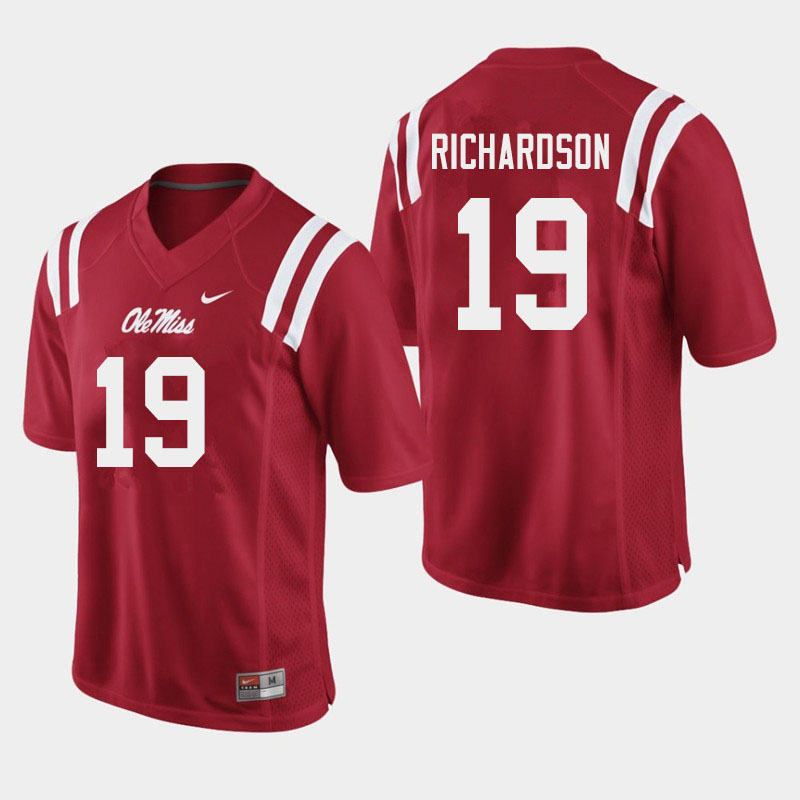 Men #19 Jamar Richardson Ole Miss Rebels College Football Jerseys Sale-Red