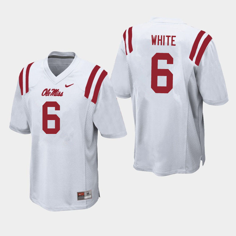 Men #6 Kam'Ron White Ole Miss Rebels College Football Jerseys Sale-White