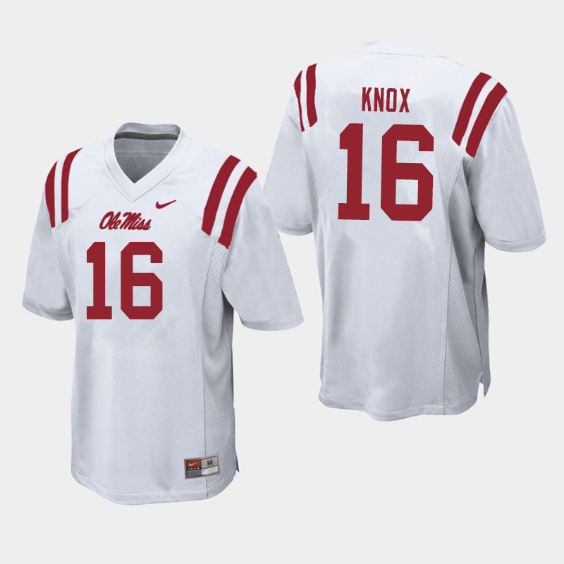 Men #16 Luke Knox Ole Miss Rebels College Football Jerseys Sale-White
