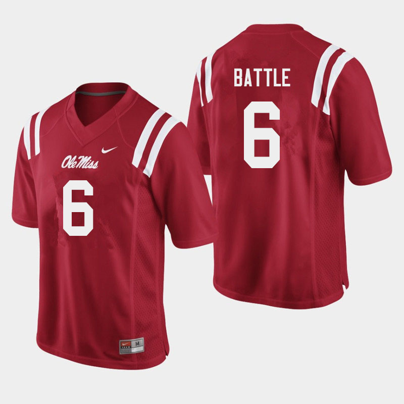 Men #6 Miles Battle Ole Miss Rebels College Football Jerseys Sale-Red