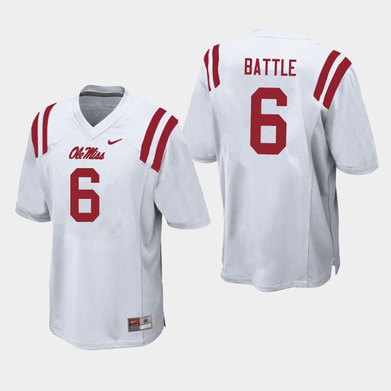 Men #6 Miles Battle Ole Miss Rebels College Football Jerseys Sale-White