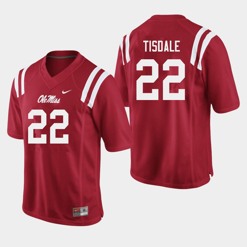 Men #22 Tariqious Tisdale Ole Miss Rebels College Football Jerseys Sale-Red