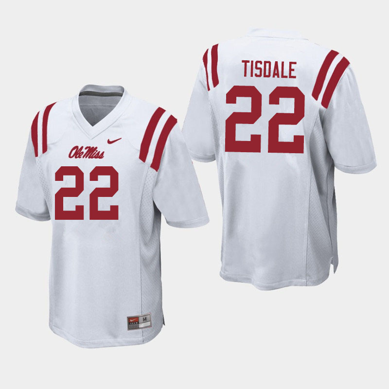 Men #22 Tariqious Tisdale Ole Miss Rebels College Football Jerseys Sale-White