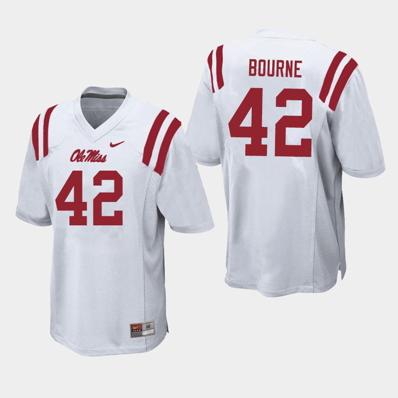 Men #42 Truett Bourne Ole Miss Rebels College Football Jerseys Sale-White