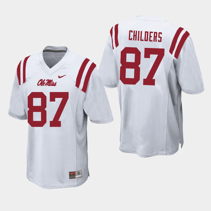 Men #87 Garrett Childers Ole Miss Rebels College Football Jerseys Sale-White