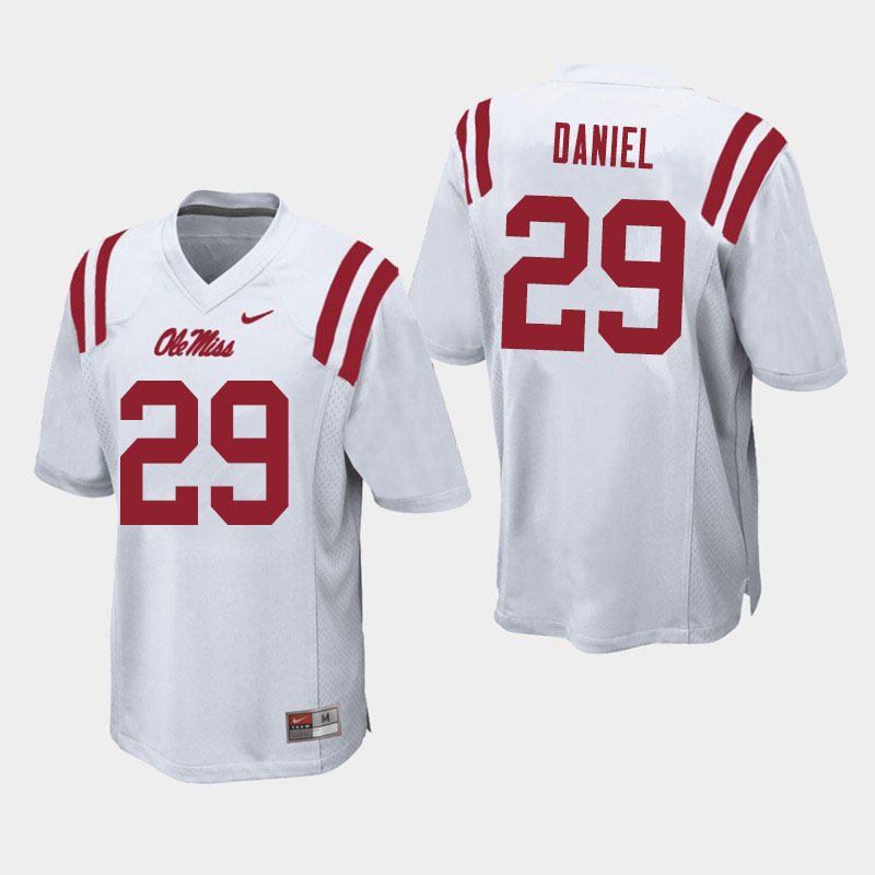 Men #29 Lakevias Daniel Ole Miss Rebels College Football Jerseys Sale-White