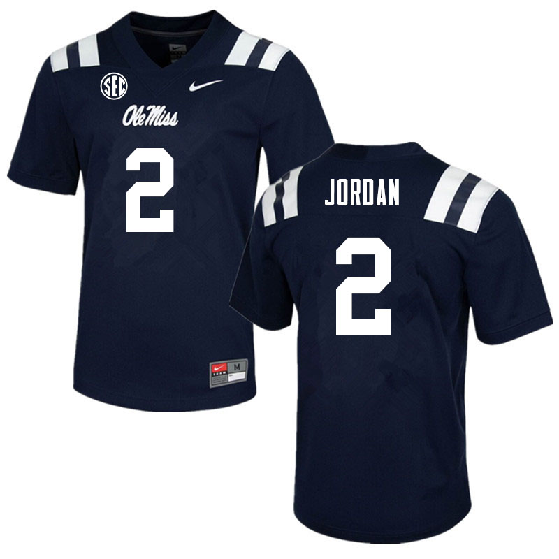 Men #2 Jalen Jordan Ole Miss Rebels College Football Jerseys Sale-Navy