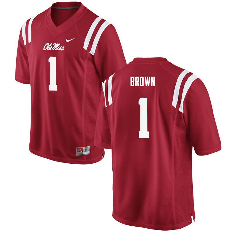 Men Ole Miss Rebels #1 A.J. Brown College Football Jerseys-Red