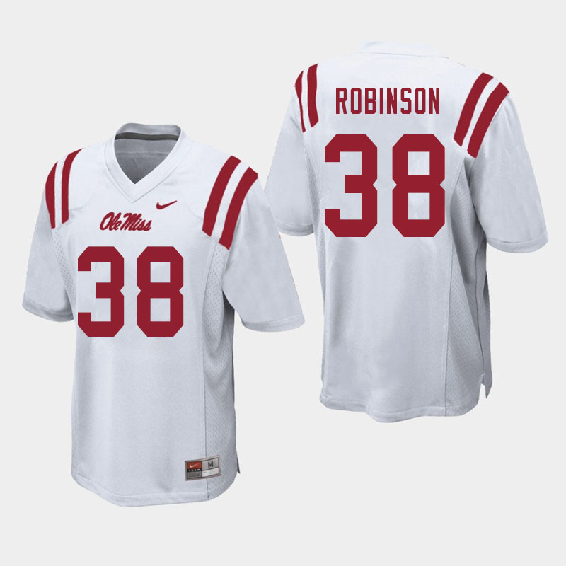 Men #38 Austrian Robinson Ole Miss Rebels College Football Jerseys Sale-White