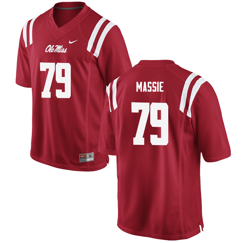 Men Ole Miss Rebels #79 Bobby Massie College Football Jerseys-Red