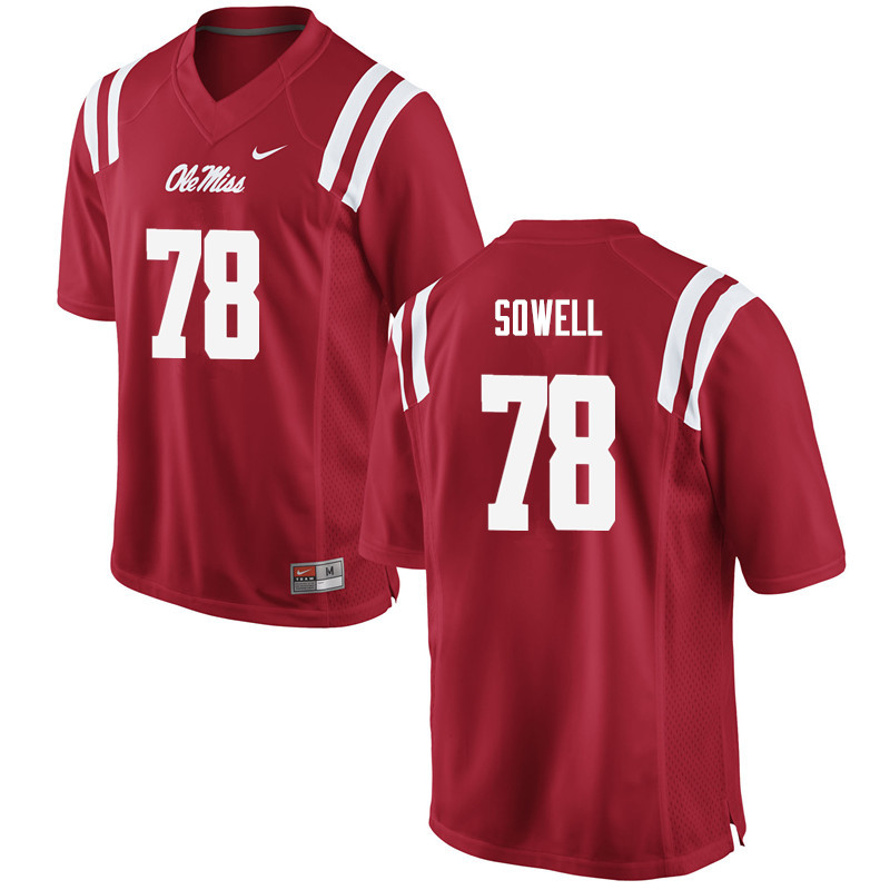 Men Ole Miss Rebels #78 Bradley Sowell College Football Jerseys-Red