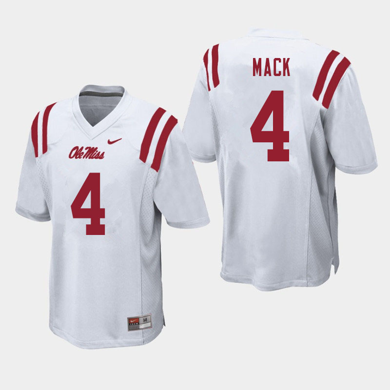 Men #4 Brandon Mack Ole Miss Rebels College Football Jerseys Sale-White