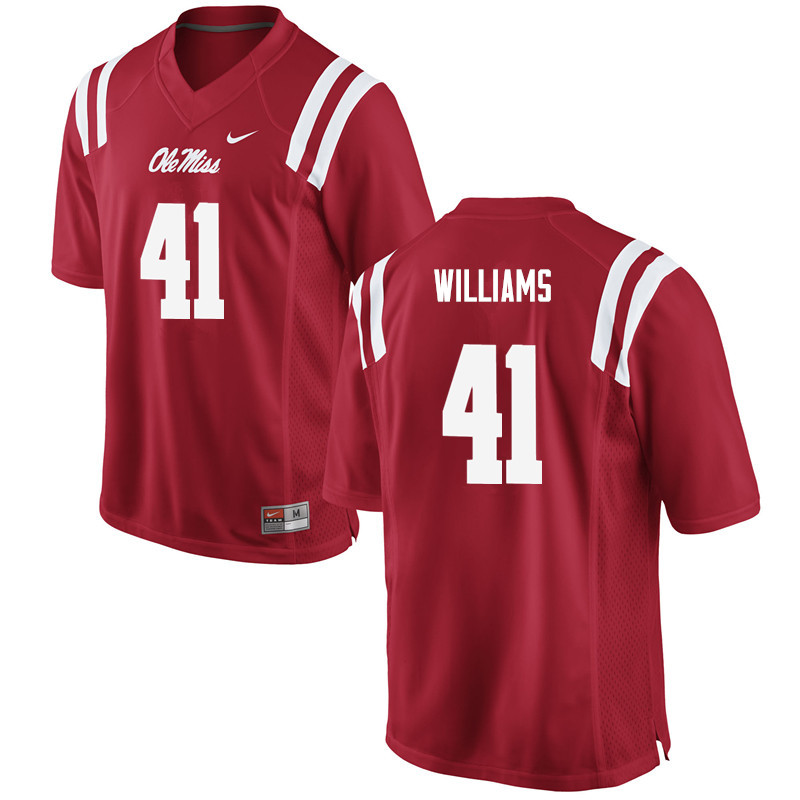 Men Ole Miss Rebels #41 Brenden Williams College Football Jerseys-Red