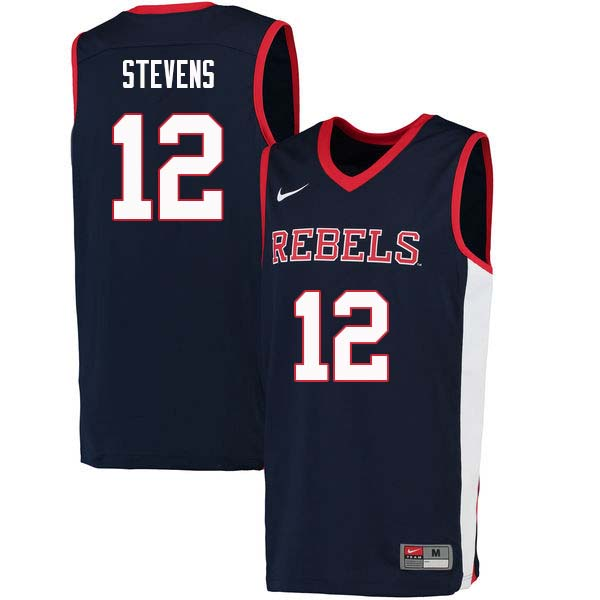 Men #12 Bruce Stevens Ole Miss Rebels College Basketball Jerseys Sale-Navy