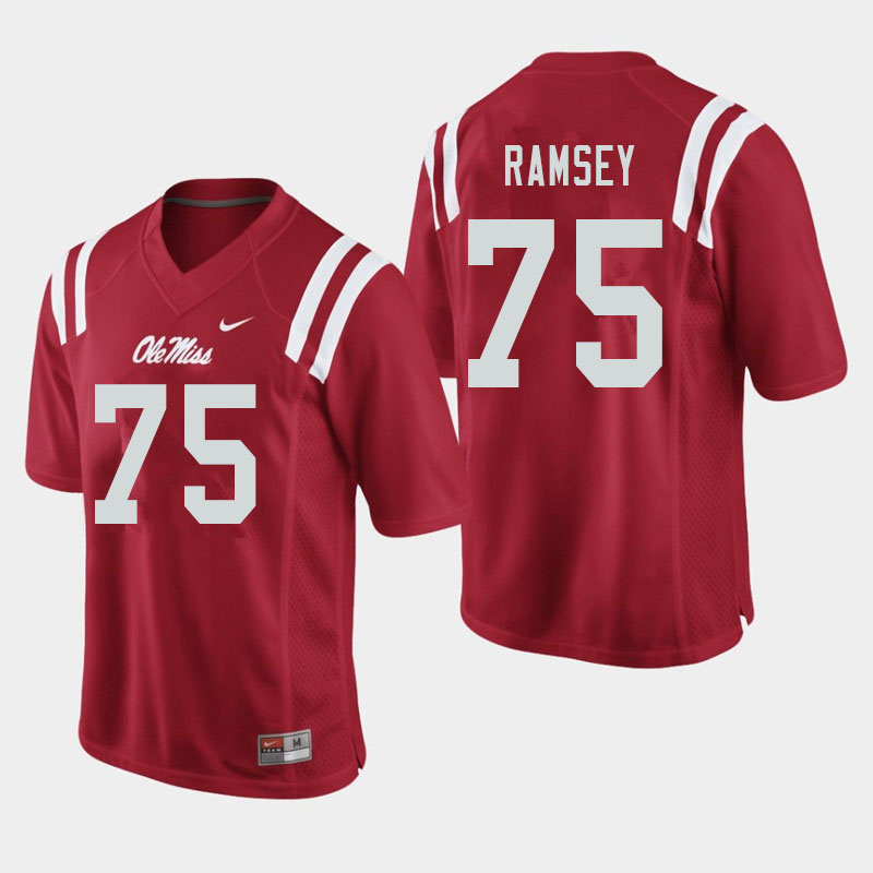 Men #75 Bryce Ramsey Ole Miss Rebels College Football Jerseys Sale-Red