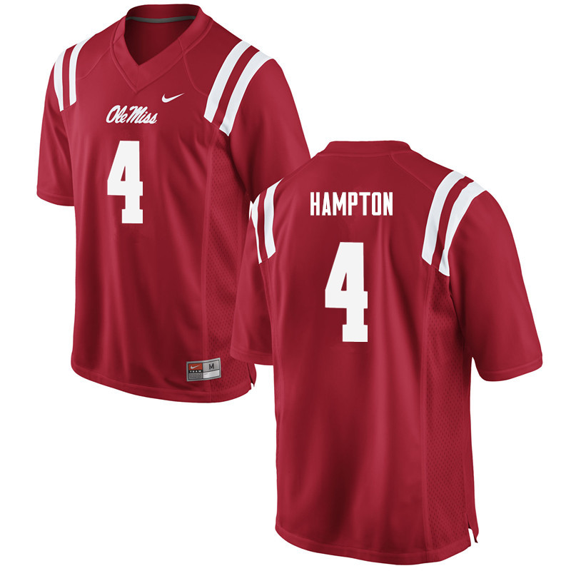 Men Ole Miss Rebels #4 C.J. Hampton College Football Jerseys-Red