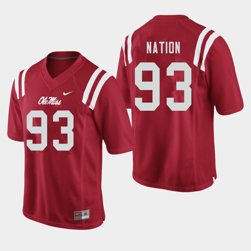 Men #93 Cale Nation Ole Miss Rebels College Football Jerseys Sale-Red