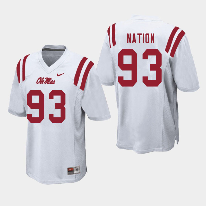 Men #93 Cale Nation Ole Miss Rebels College Football Jerseys Sale-White