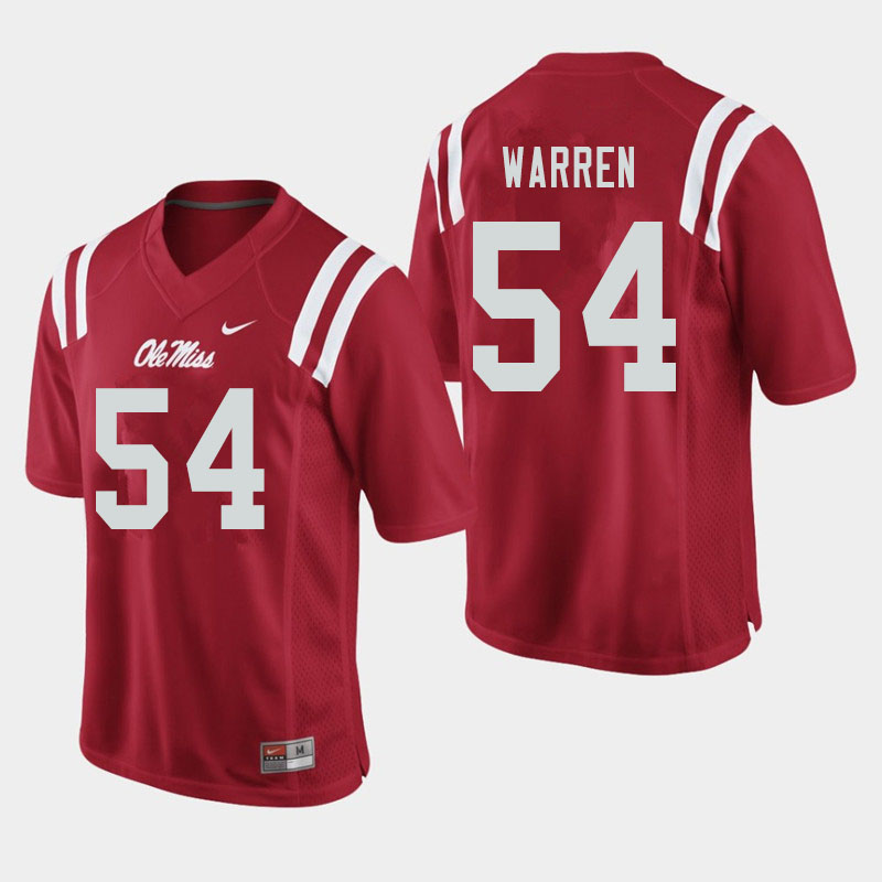 Men #54 Caleb Warren Ole Miss Rebels College Football Jerseys Sale-Red