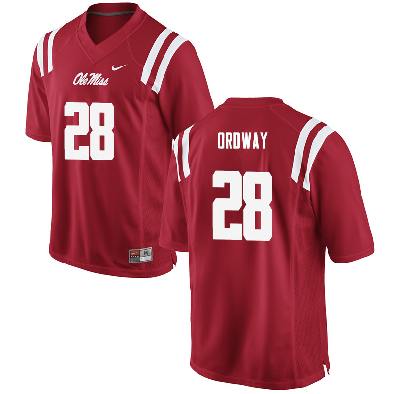 Men Ole Miss Rebels #28 Cam Ordway College Football Jerseys-Red