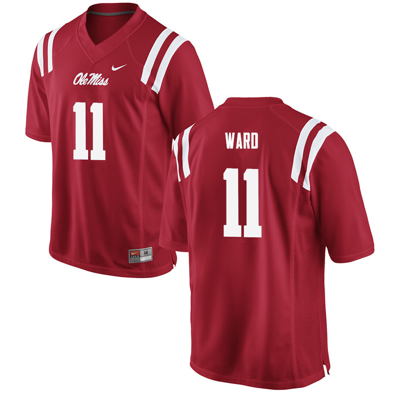 Men Ole Miss Rebels #11 Channing Ward College Football Jerseys-Red