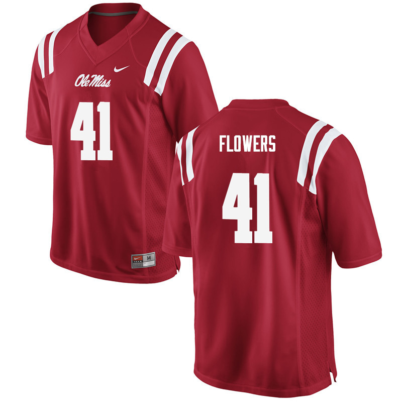 Men Ole Miss Rebels #41 Charlie Flowers College Football Jerseys-Red