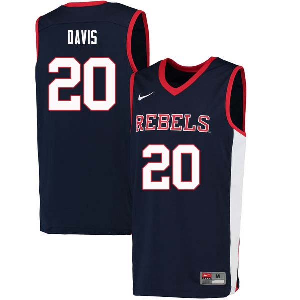 Men #20 D.C. Davis Ole Miss Rebels College Basketball Jerseys Sale-Navy