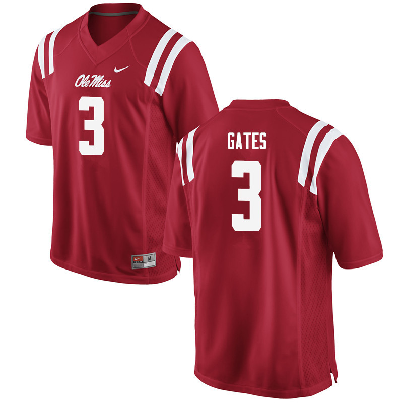 Men Ole Miss Rebels #3 DeMarquis Gates College Football Jerseys-Red