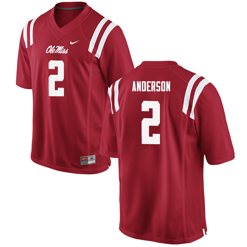 Men Ole Miss Rebels #2 Deontay Anderson College Football Jerseys-Red