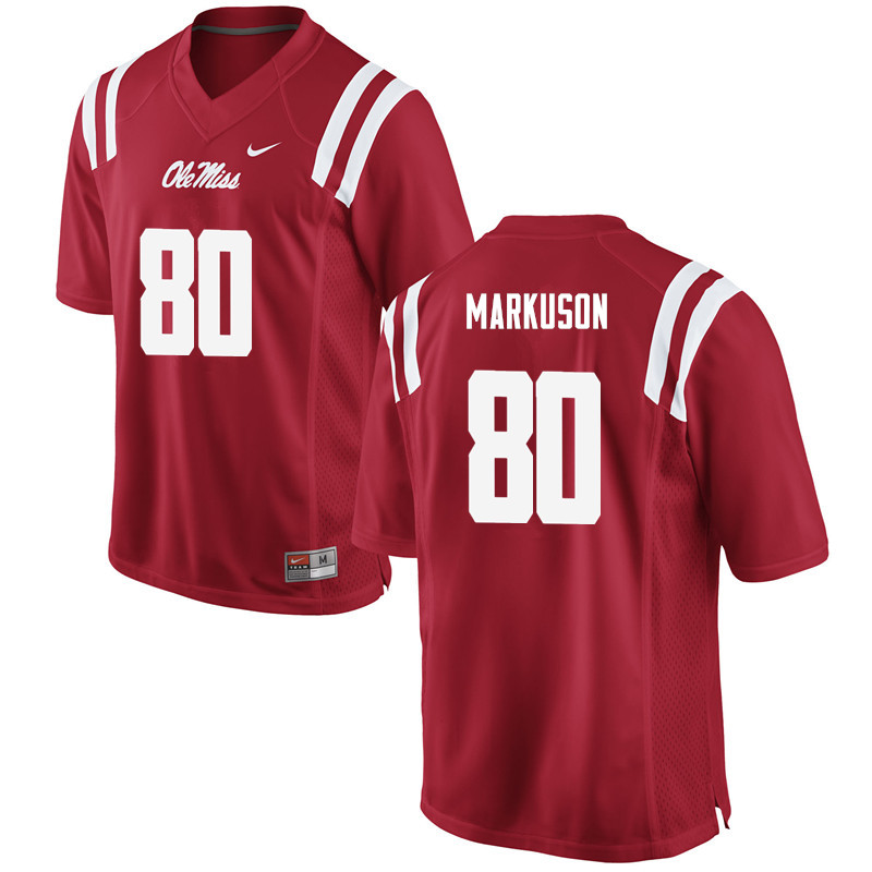 Men Ole Miss Rebels #80 Elliot Markuson College Football Jerseys-Red