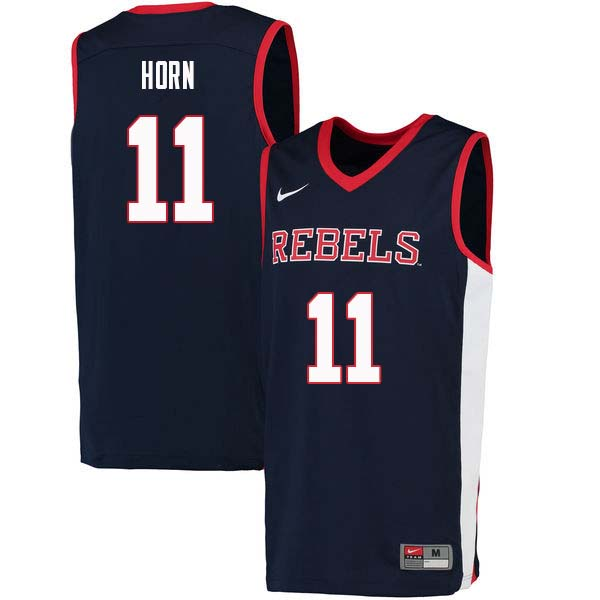 Men #11 Eric Horn Ole Miss Rebels College Basketball Jerseys Sale-Navy