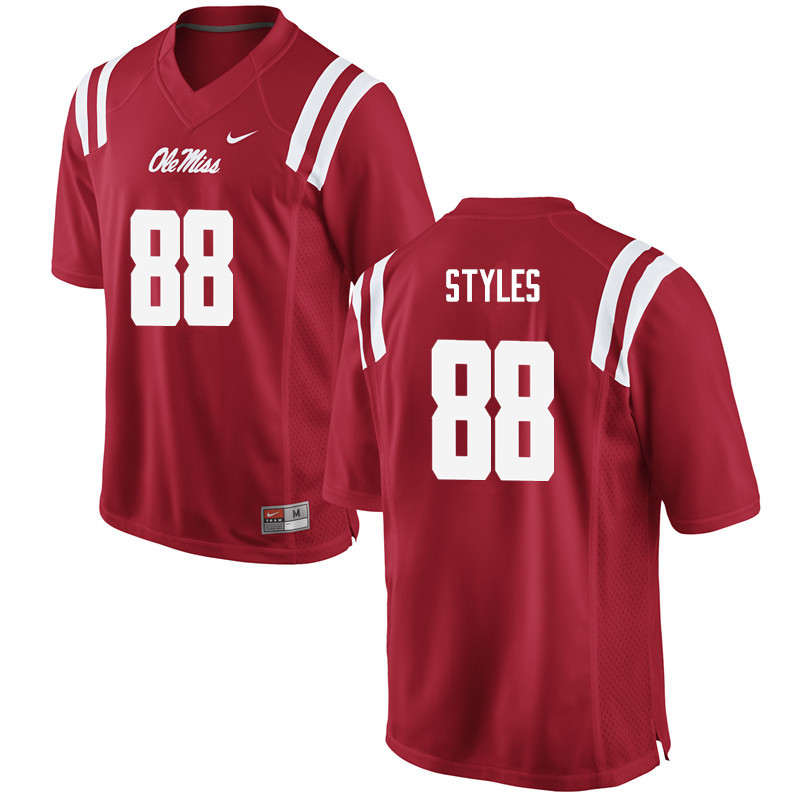 Men Ole Miss Rebels #88 Garrett Styles College Football Jerseys-Red