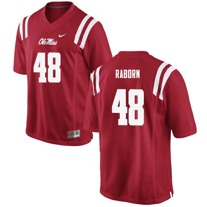 Men Ole Miss Rebels #48 Jack Raborn College Football Jerseys-Red