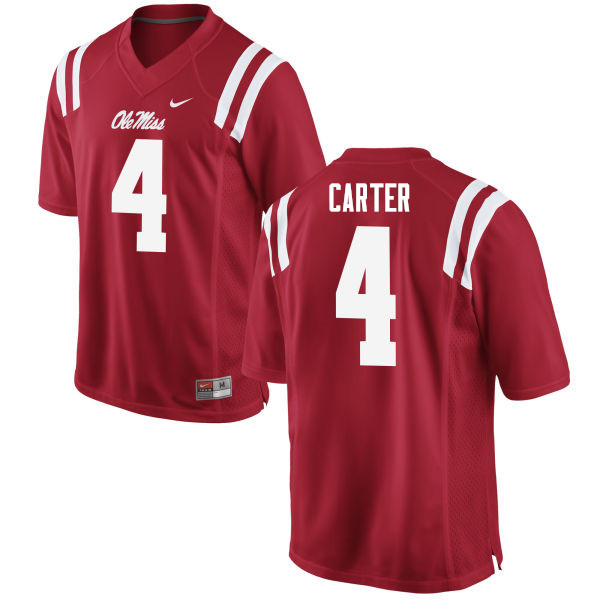 Men #4 Jacob Carter Ole Miss Rebels College Football Jerseys Sale-Red