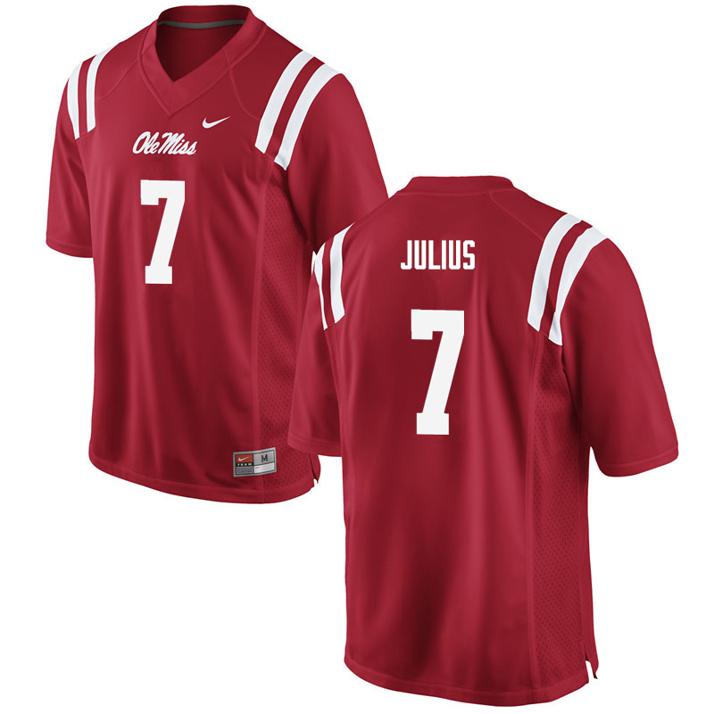 Men Ole Miss Rebels #7 Jalen Julius College Football Jerseys-Red
