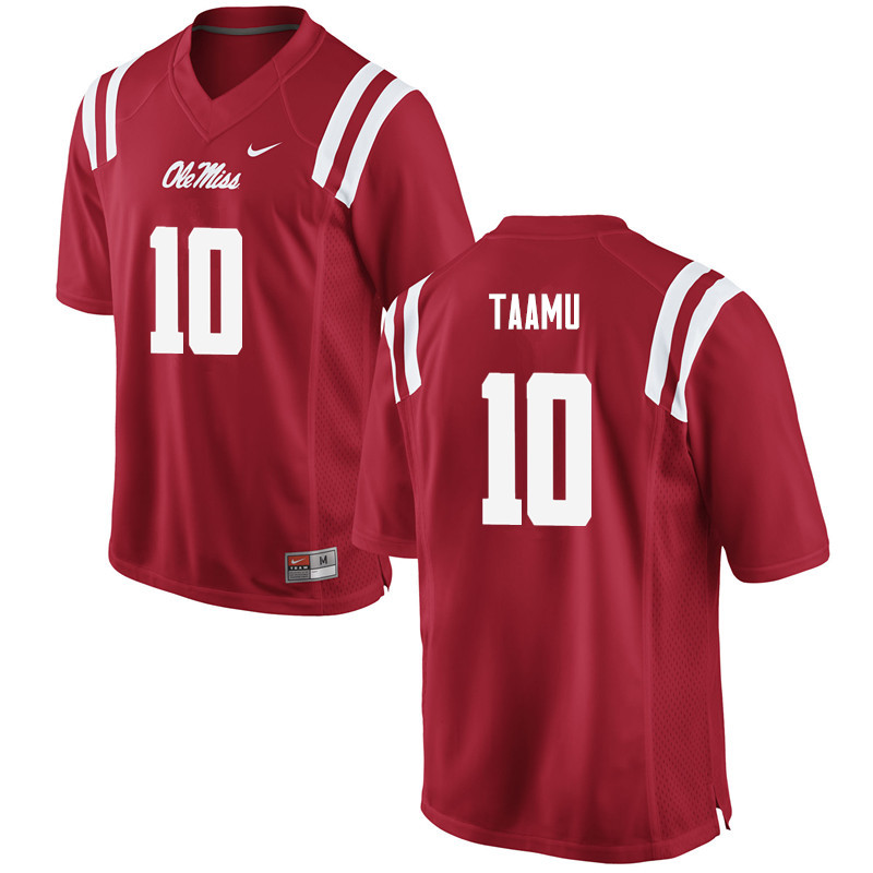 Men Ole Miss Rebels #10 Jordan Taamu College Football Jerseys-Red