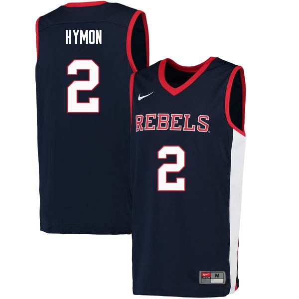 Men #2 Marcanvis Hymon Ole Miss Rebels College Basketball Jerseys Sale-Navy