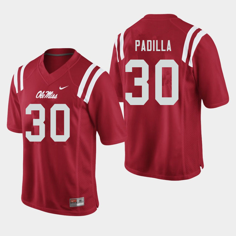 Men #30 Mario Padilla Ole Miss Rebels College Football Jerseys Sale-Red