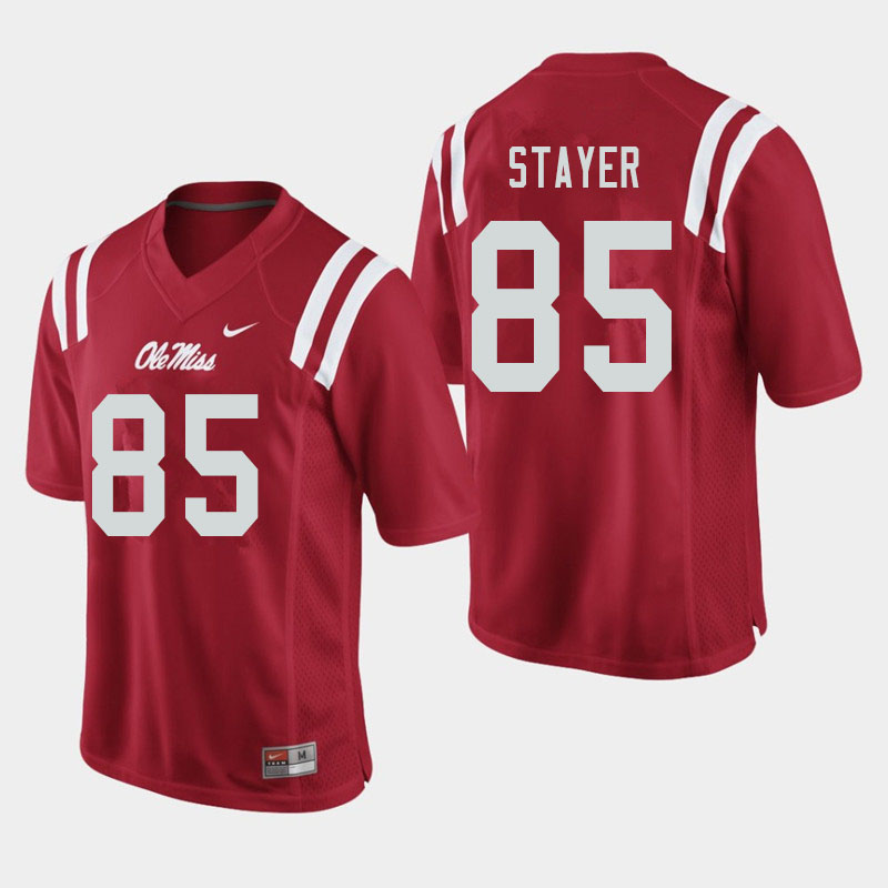 Men #85 Owen Stayer Ole Miss Rebels College Football Jerseys Sale-Red