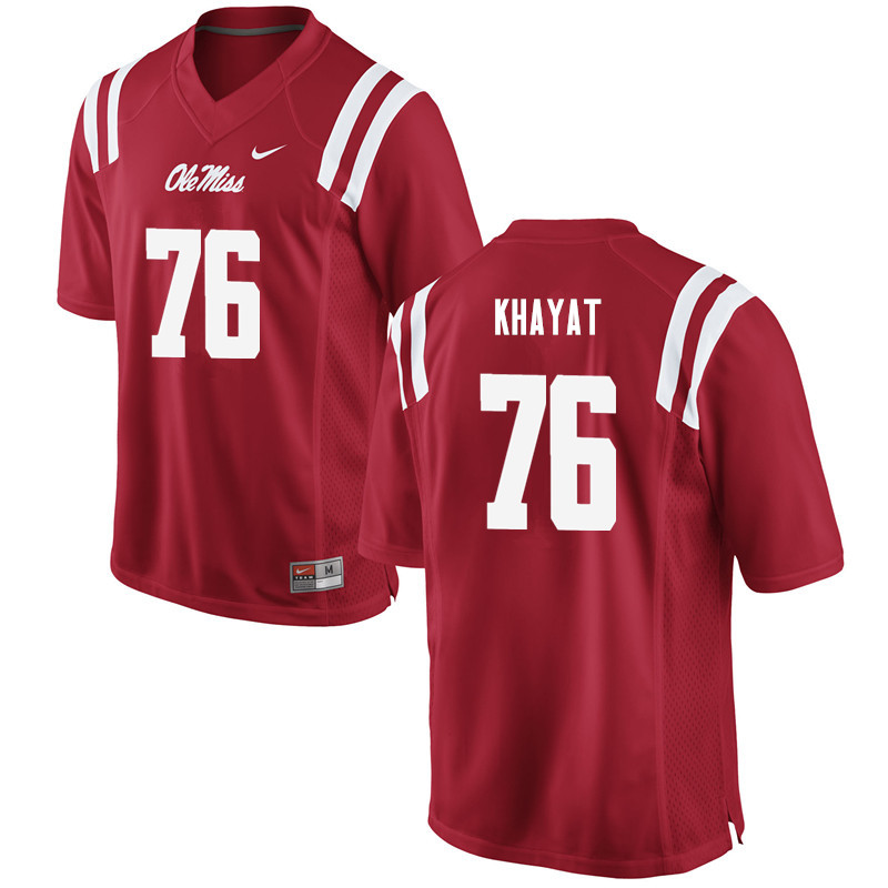 Men Ole Miss Rebels #76 Robert Khayat College Football Jerseys-Red