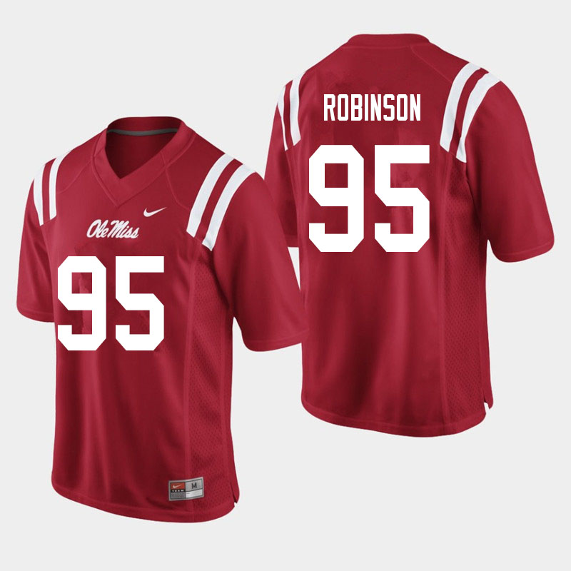 Men #95 Tavius Robinson Ole Miss Rebels College Football Jerseys Sale-Red